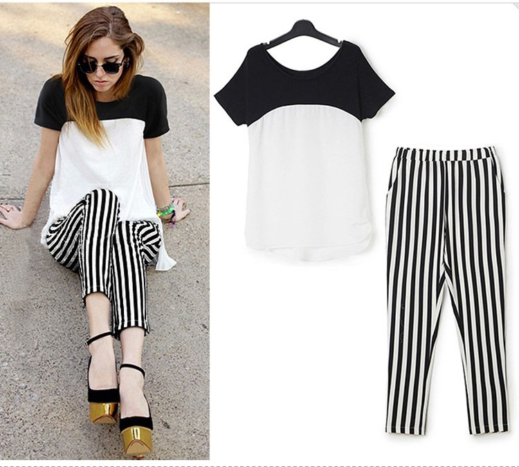 HTB1v3GxQXXXXXbCXFXXq6xXFXXXP - Black White Striped Pencil Trousers Elegant Ladies Pants PTC 182