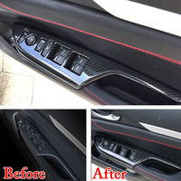 For 2016 2017 Honda Civic RHD 4pcs ABS Car Door Armrest Window Lift Button Panel Cover Trim Decorative Car styling Accessories