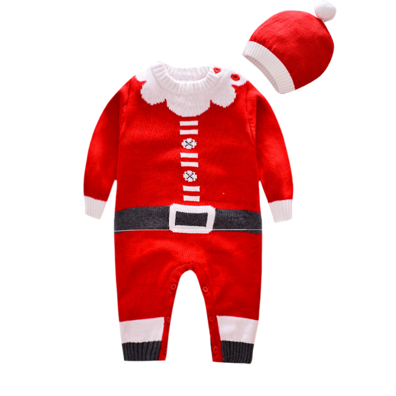 Christmas Santa Claus baby Rompers Knitwear soft Sweater kids one piece Jumpsuits Pajamas infant girl boys clothes baby costumes