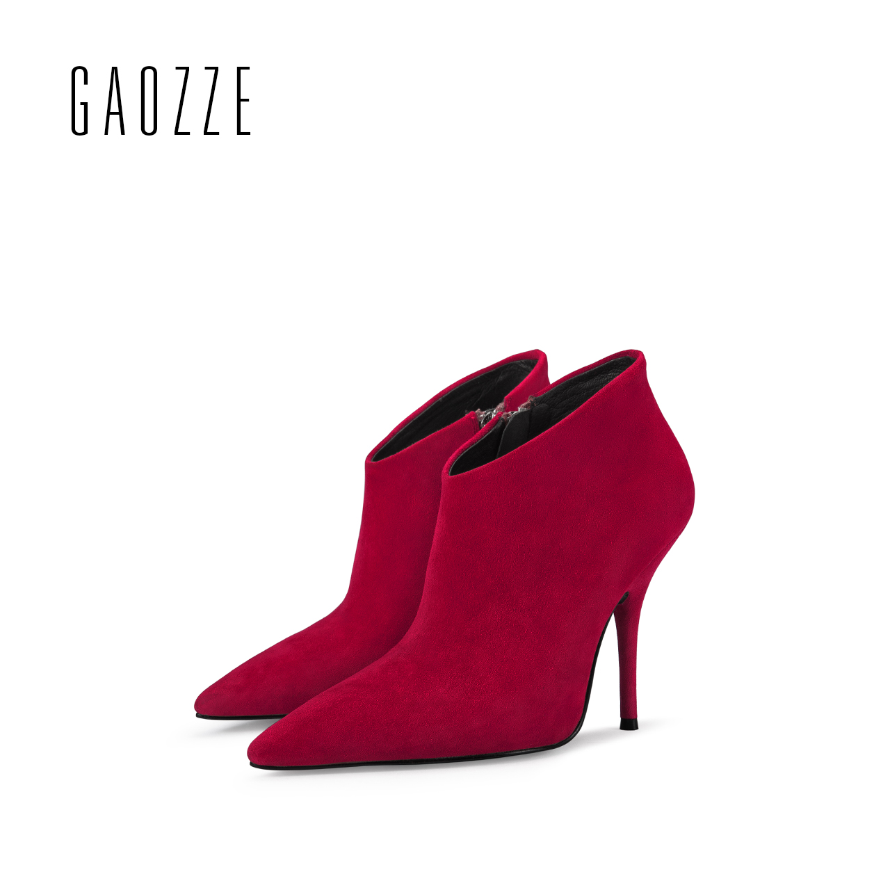 GAOZZE ankle boots for women side zipper sheep suede genuine leather boots pointed toe sexy thin high heel women boots 2017 new стоимость