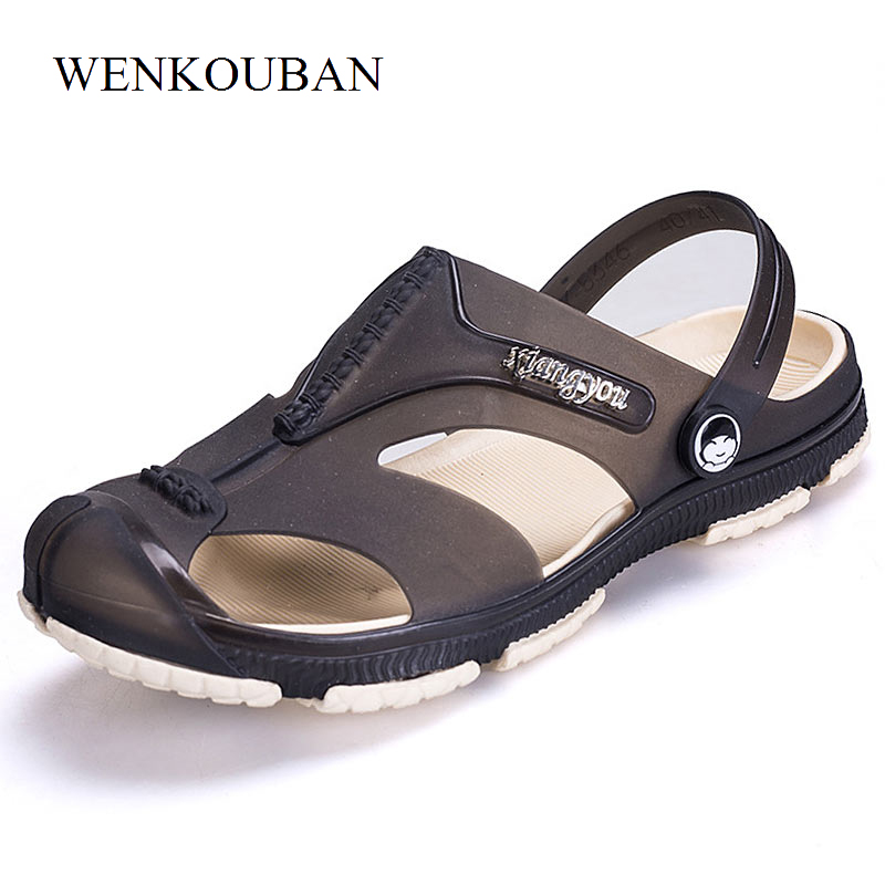 Summer Men Sandals Beach Shoes Breathable Men's Slippers Flip Flops Male Closed Toe Garden Clogs Outdoor Fisherman Sandals
