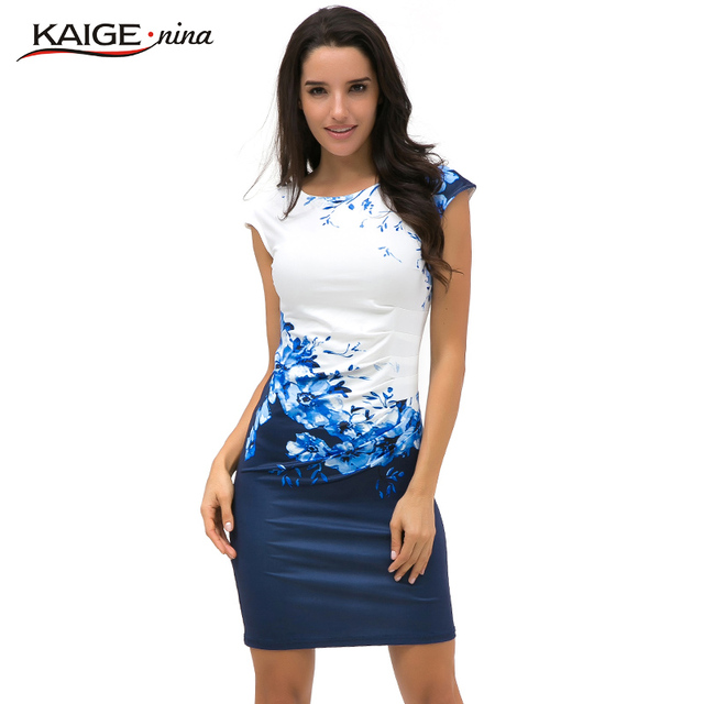 2016 Kaige Nina Summer dress Women bodycon dress  plus size women clothing chic elegant sexy fashion o-neck print dresses 9026