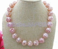 Natural 16MM Pink Mother Of Pearl Necklace