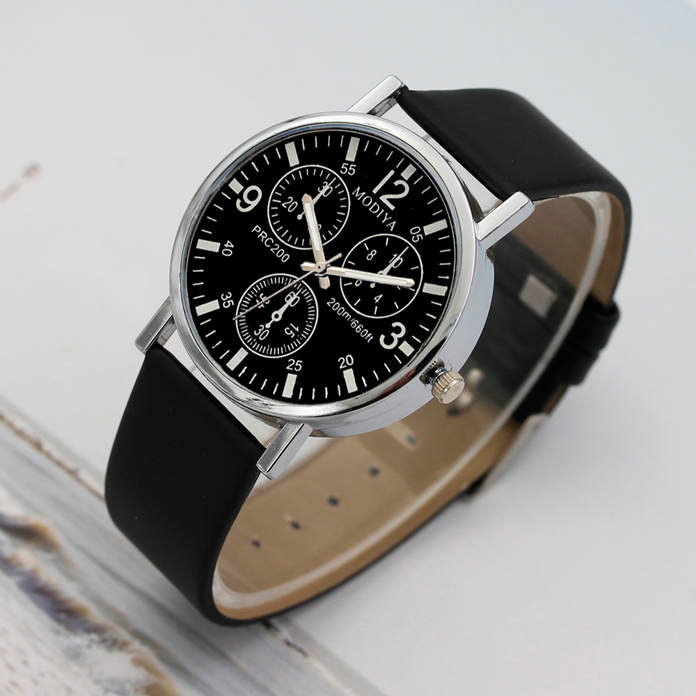 Watch Menzegarek mesk reloj hombre montre homme Three Eye Watches Quartz Men's Watch Blue Glass Belt Watch Men relogio masculino 6