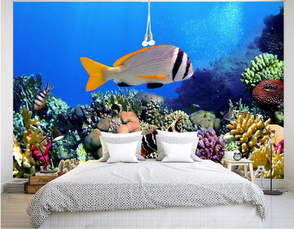 Behang Kinderkamer Vissen : 3d behang custom photo mural zee wereld vis kinderkamer decor
