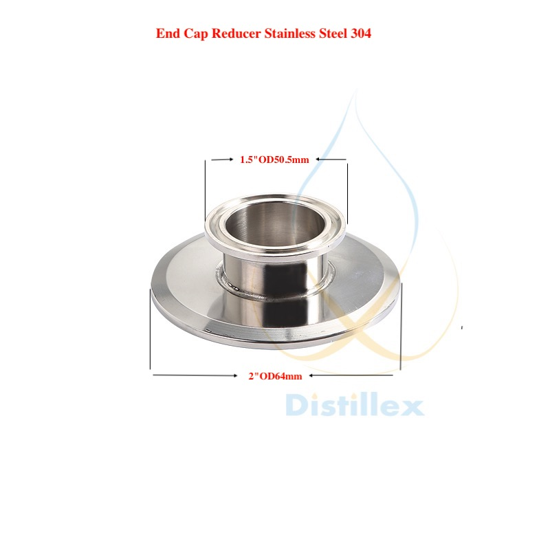 1,5 OD50,5mm x 2 OD64mm End cap , Short Tri-clamp Reducer .Sanitary Steel 304 . Height 25mm