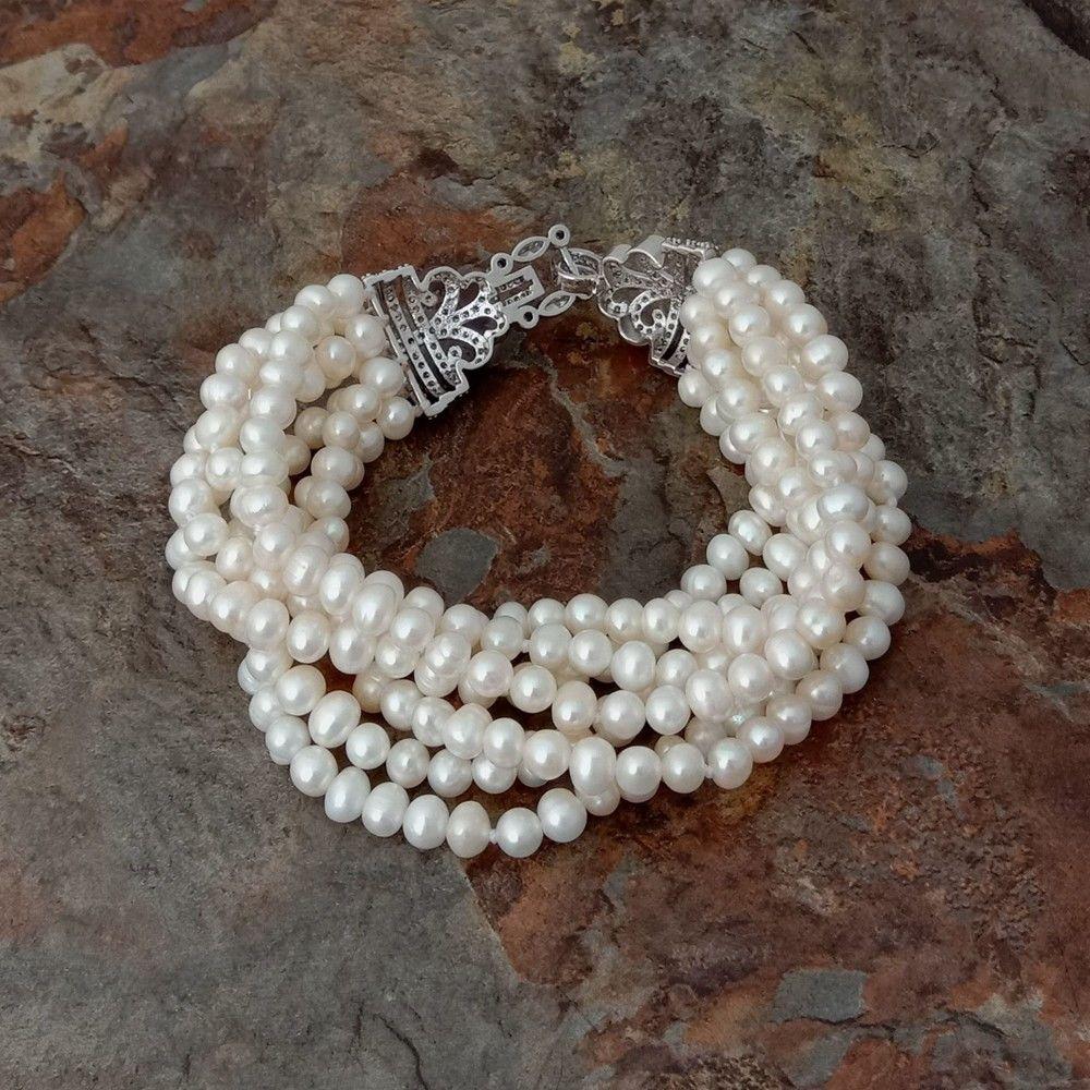 "8/"" 7 Strands White Pearl Bracelet CZ Clasp"