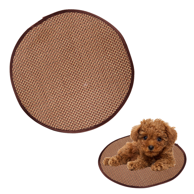 Summer Pet Dog Cat Round Mats Cooling Dog Mat Rattan Pet Dog Cat Cushion  Teddy Cooling