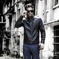 Moda europea y Americana de los hombres cuello de la chaqueta de la chaqueta de cuero de LA PU de cuero ropa de otoño e invierno calientes hombres de cuero