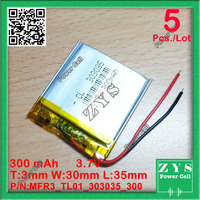 5 pcs./Lot 3.7V 300mAh 303035 3.7 v 300 mah Lithium Polymer Li Po li ion Battery cells For Mp3 MP4 MP5 GPS PSP mobile bluetooth