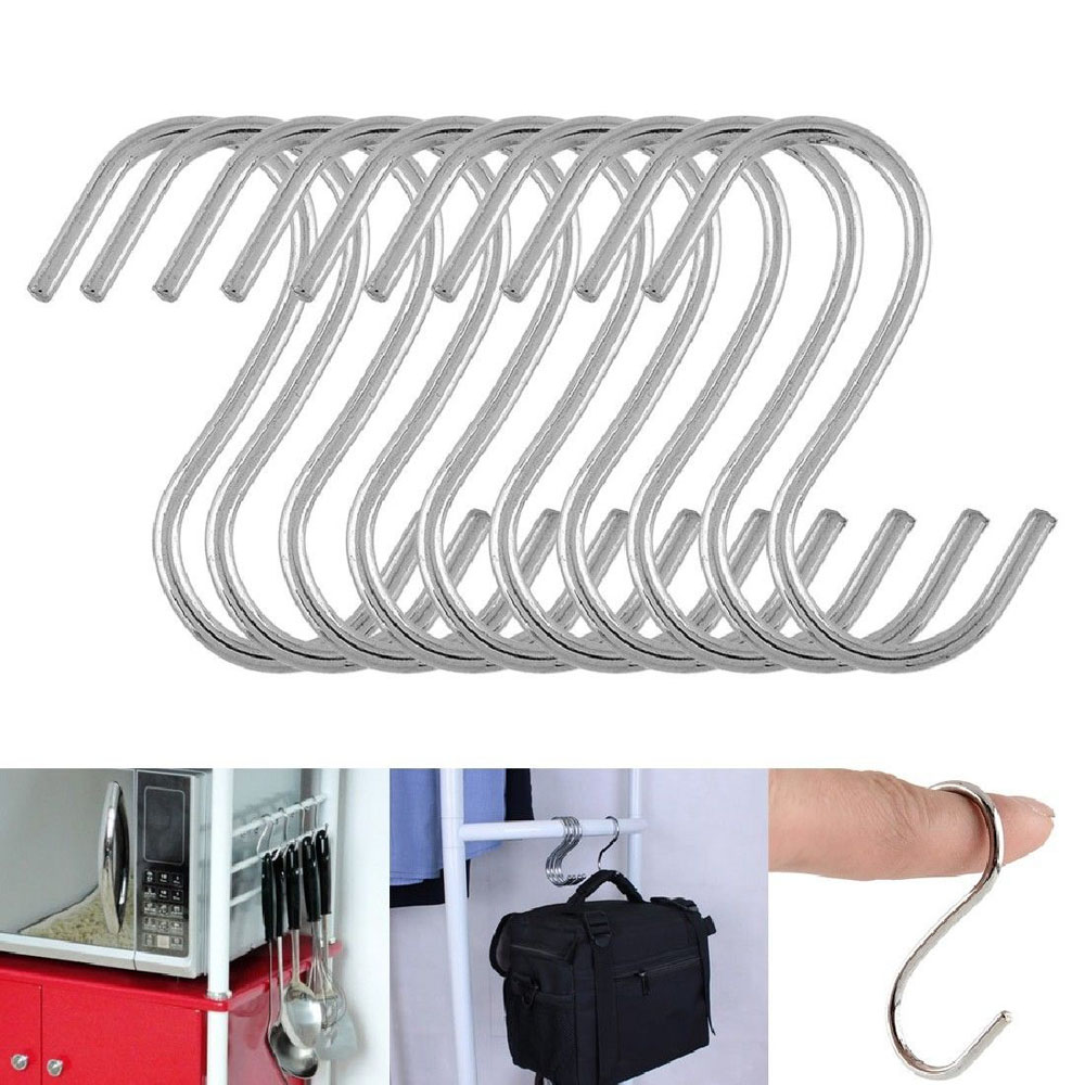 5/10/20PCS Useful S Shaped Hooks Kitchen Hanging Hanger Storage Holders Organizer Household Home Essential Stainless Steel Hooks
