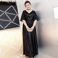 JaneVini 2019 Black Plus Size Dinner Dresses Long Sequined Mother Bride Dresses with Half Sleeves Formal Evening Dresses Gown