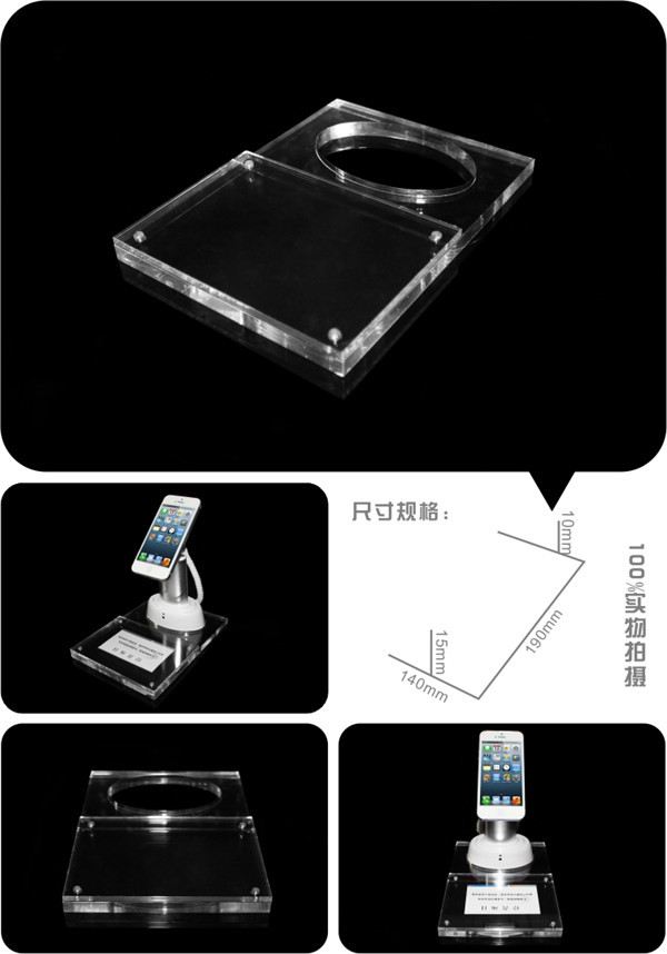 mobile phone store secure display clamps with acrylic base price tag