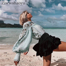 Ziwwshaoyu Sexy Hollow Out Blouse Stand Beading Lingge Carved Vacation Party cotton top Spring and summer new women