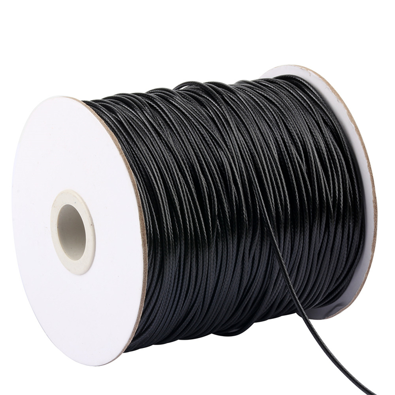 10meters Waxed Cotton Cord Necklace Bracelet Beading Jewellry String Black 2mm