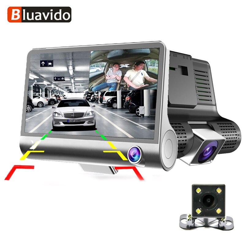 Bluavido 3 Way Камера Видеорегистраторы для автомобилей HD видео Регистраторы Камера Двойной объектив с заднего вида регистратор 4 дюймов регистр...