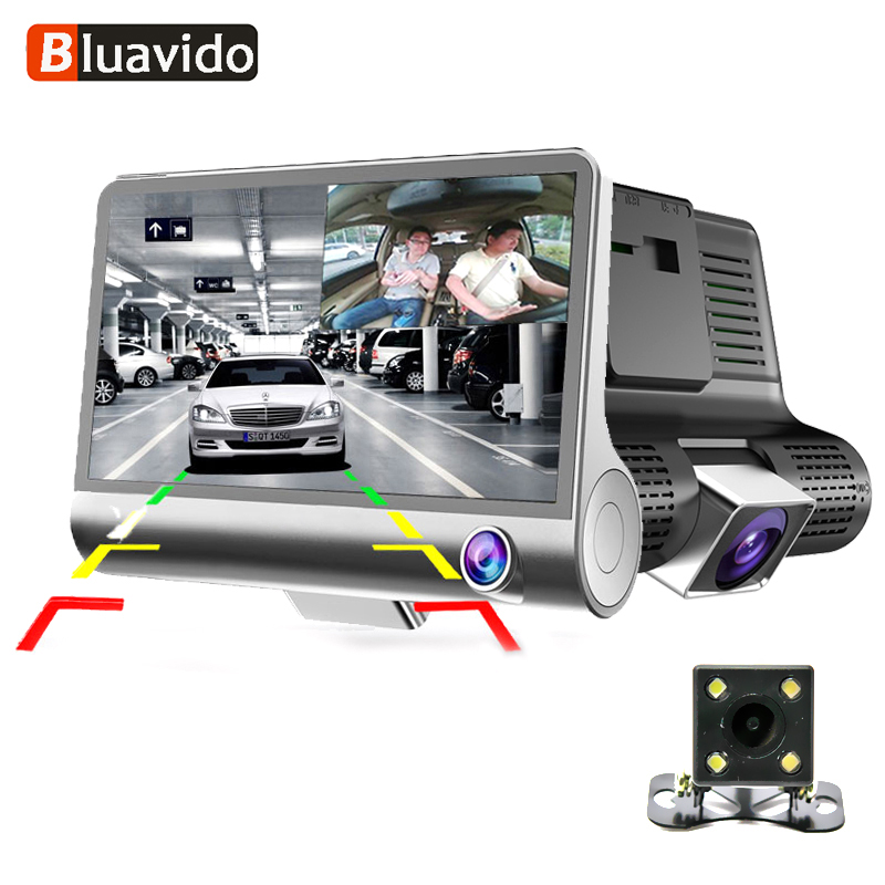 Bluavido 3 Way Camera Car DVR HD Video Recorder Camera Dual Lens with Rear view Registrar