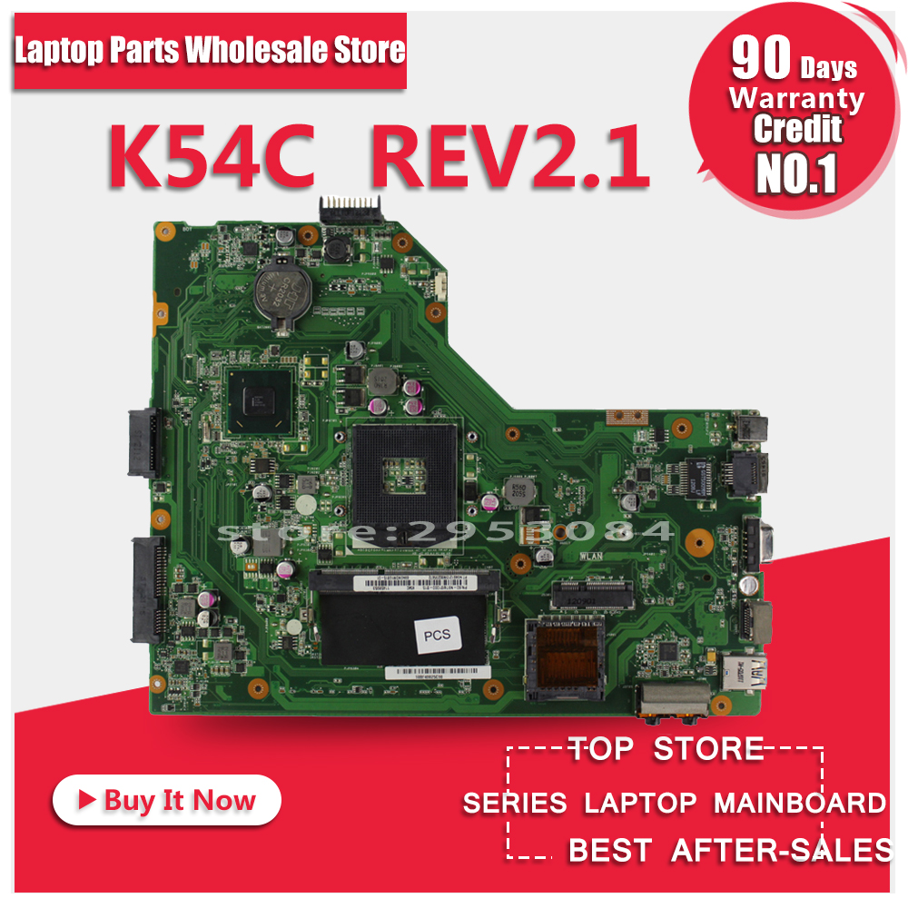 For ASUS K54C X54C Laptop Motherboard K54C REV:2.1 HM65 PGA989 USB3.0 DDR3 VRAN 60-N9TMB1000 with ram 100% Tested Fast Ship original notebook motherboard x54c k54c for asus rev 2 1 system pc mainboard with ram on board