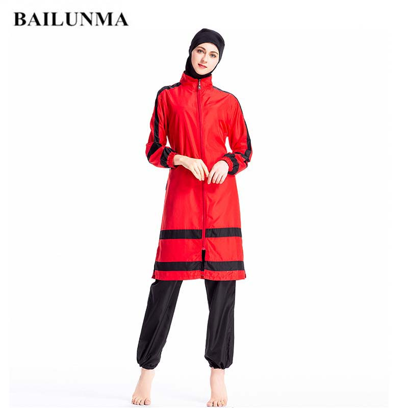 BAILUNMA New Arabian Swimsuit Ladies Islamic Burkinis Muslim Swimwear Long Sleeve Thin Sportswear Conservative Muslimah Swimsuit