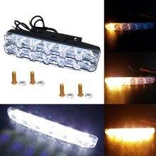 цена на 2Pcs Universal LED DRL Daytime Running Light 6LED Waterproof Super Bright Auto Driving Light External Light fog lights Head lamp