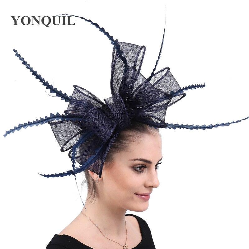 Элегантные головные уборы sinamay, Свадебные шляпы для невесты, высококачественные Коктейльные головные уборы, вечерние головные уборы, несколько цветов - Цвет: Тёмно-синий