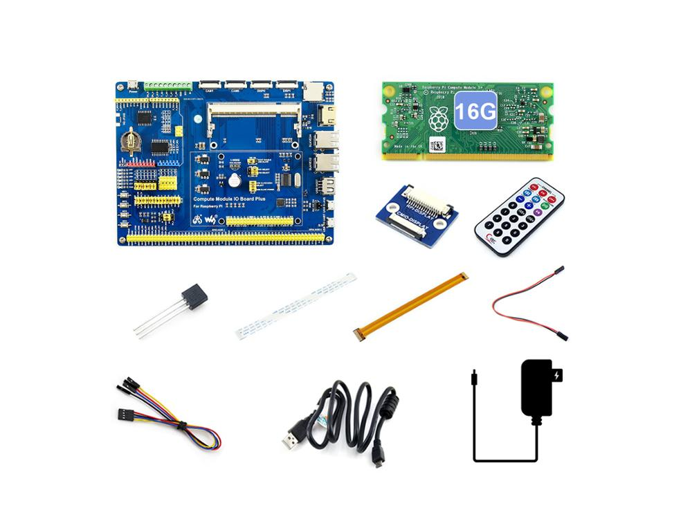 Raspberry Pi Compute Module 3+/16GB Development Kit Type A, CM3+ IO Board, DS18B20, IR Remote Controller