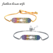 Fashion House Wife New Colorful Zircon Bracelet For Women Cubic Zirconia Sparkling Gold Adjustable Bracelet Femme Jewelry LB0037