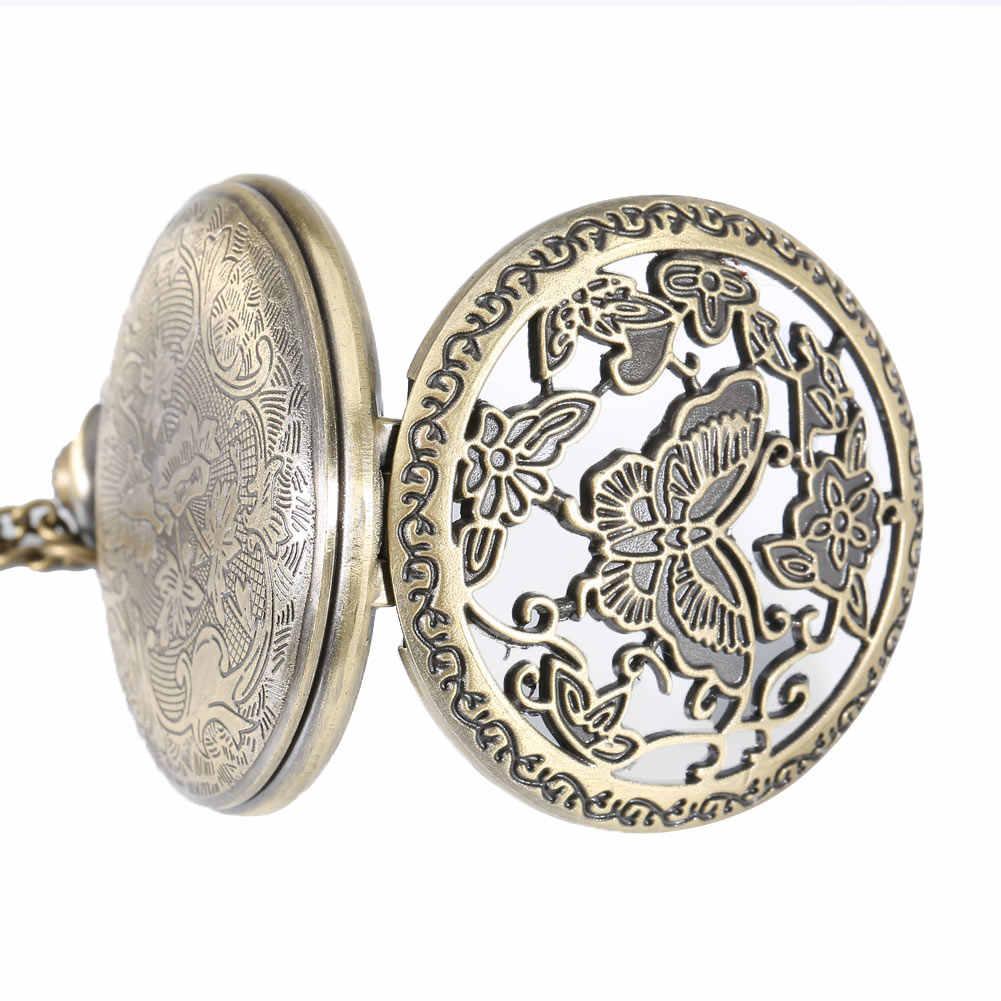 Модные часы винтажные бабочки цветок выдалбливают крышки кварцевые карманные часы ожерелье свитер цепь таймер