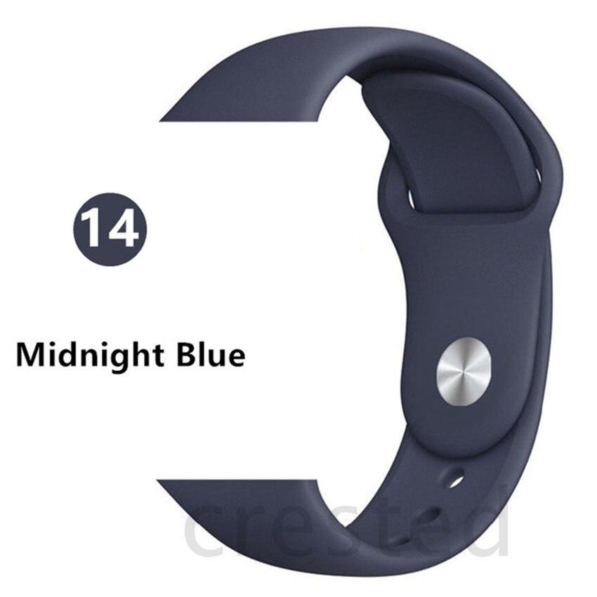 Силиконовый ремешок для apple watch 4 5 44 мм/40 мм спортивный ремешки для apple watch 3 42 мм/38 мм резиновый ремень браслет ремешок для часов apple watch Band Мягкий красочный ремешок iwatch series 4 3 2 1 - Цвет ремешка: Midnight Blue