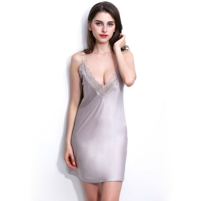 Sexi Lady Sleeveless Suspenders V-Neck Lace Silk Satin Nightgowns Sleepwear Sexy Women Cross Straps Nightwear Size M L XL XXL