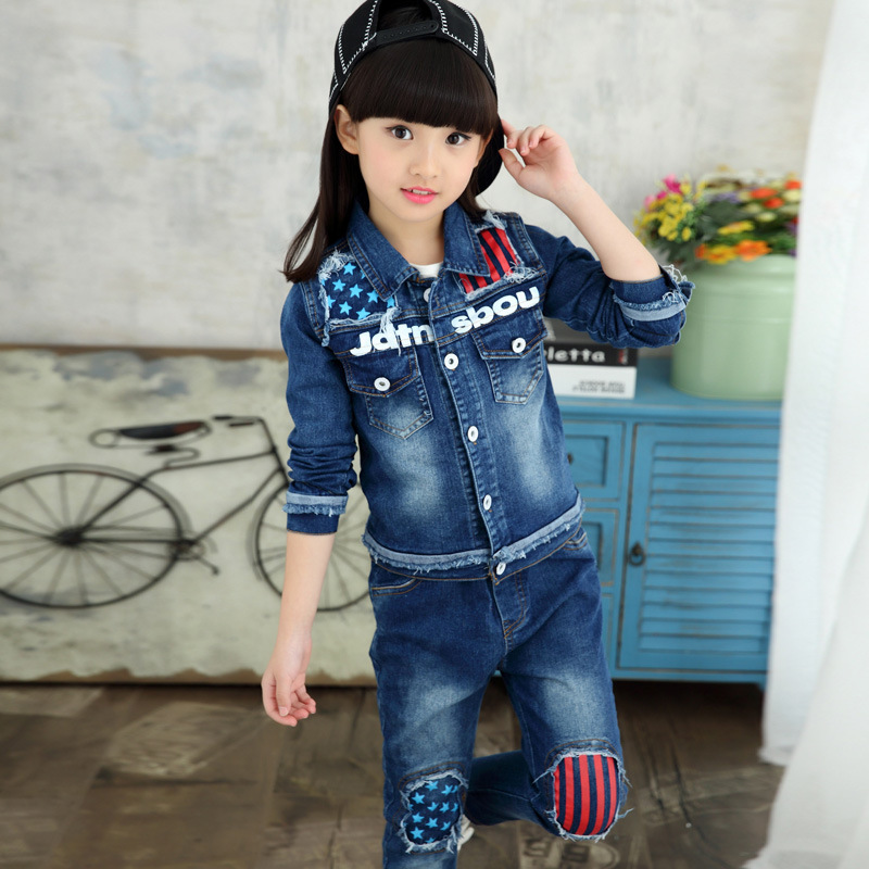 цена  Girls Denim Jacket & Girls Jeans 2pcs Clothing Set Girl Outerwear Denim Pant Girls Clothes for 3 4 6 8 10 12 Years Old RKS175004  онлайн в 2017 году