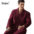 Gadpat Men's Pajamas Autumn Long Sleeve Sleepwear Cotton Plaid Cardigan Pyjamas Men Lounge Pajama Sets Plus Size 4xl Sleep