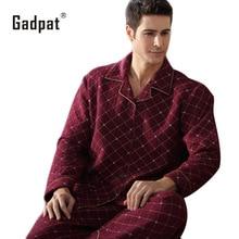 Gadpat Для мужчин пижамы Осень пижама с длинными рукавами хлопок плед кардиган пижамы Для мужчин Lounge Пижамные Комплекты Плюс Размеры 4xl сна