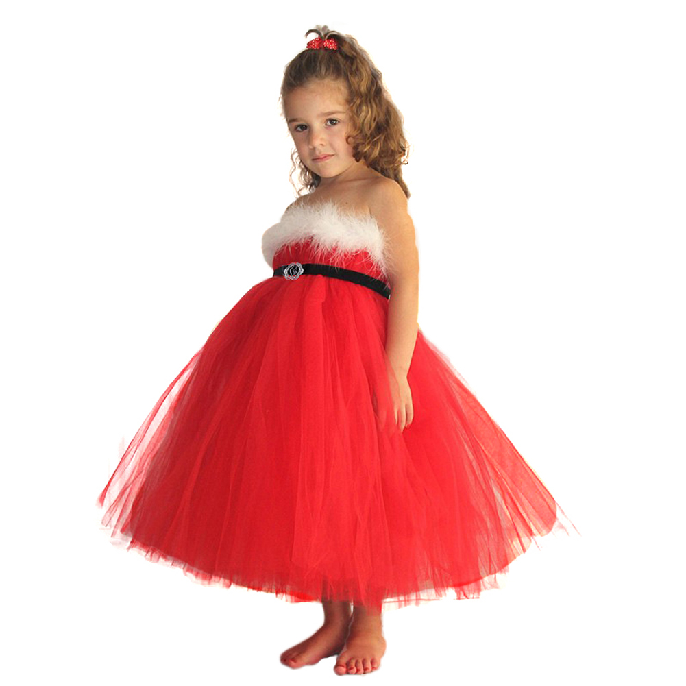 2016 red christmas girls dress kids girls santa xmas clothes red