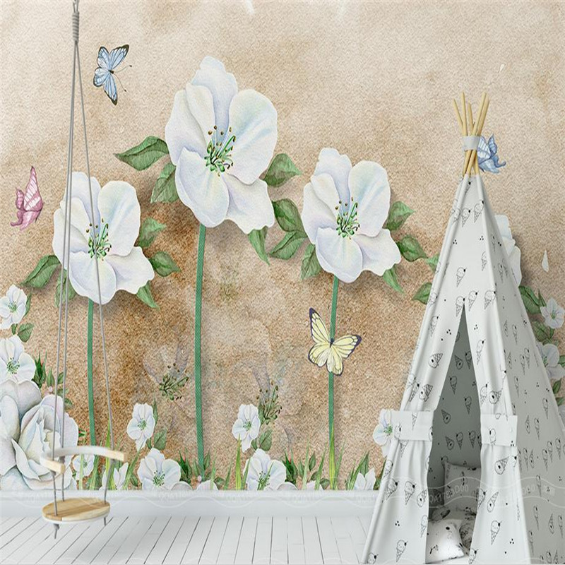 Us 22 05 45 Off Modern Custom 3d Hd Photo Wallpaper Large Living Room Bedroom Background Wall Mural Simple Stereoscopic Flower Blue Wallpaper In