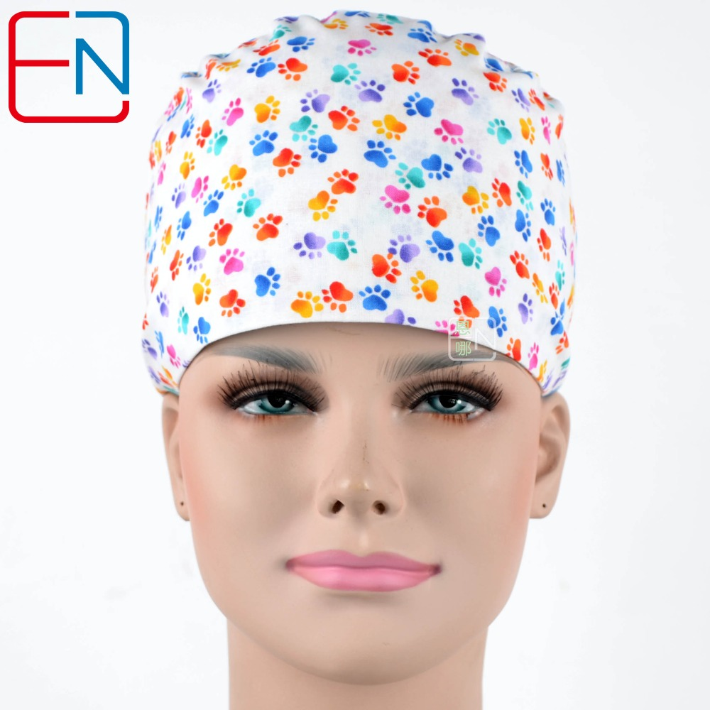 Hennar Surgical Scrub Caps For Women Hospital Doctor Medical Cap Mask Tieback Elastic 100% Cotton Surgical Caps 2018 New Arrival
