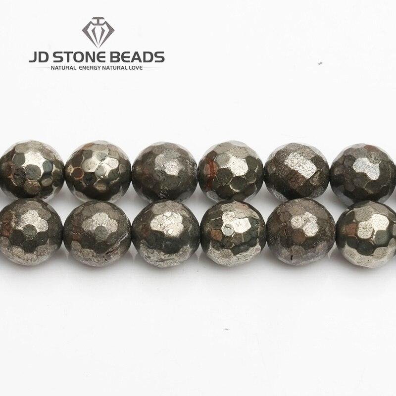 JD Pierre Perles Livraison Gratuite Naturel Facettes Pyrite Perles Semi-Fini À La Main Bracelet Perles Accessoire
