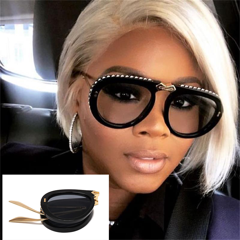 Black Foldable Sunglasses Pilot Style Luxury Brand Transparent Crystal Trim Sun Glasses Men Shades Cute Sunglasses 2019
