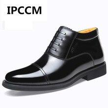 IPCCM/зимние мужские Ботинки martin с высоким берцем и боковой молнией, ботинки из натуральной кожи, деловые мужские ботинки на шнуровке, большие размеры 38-47