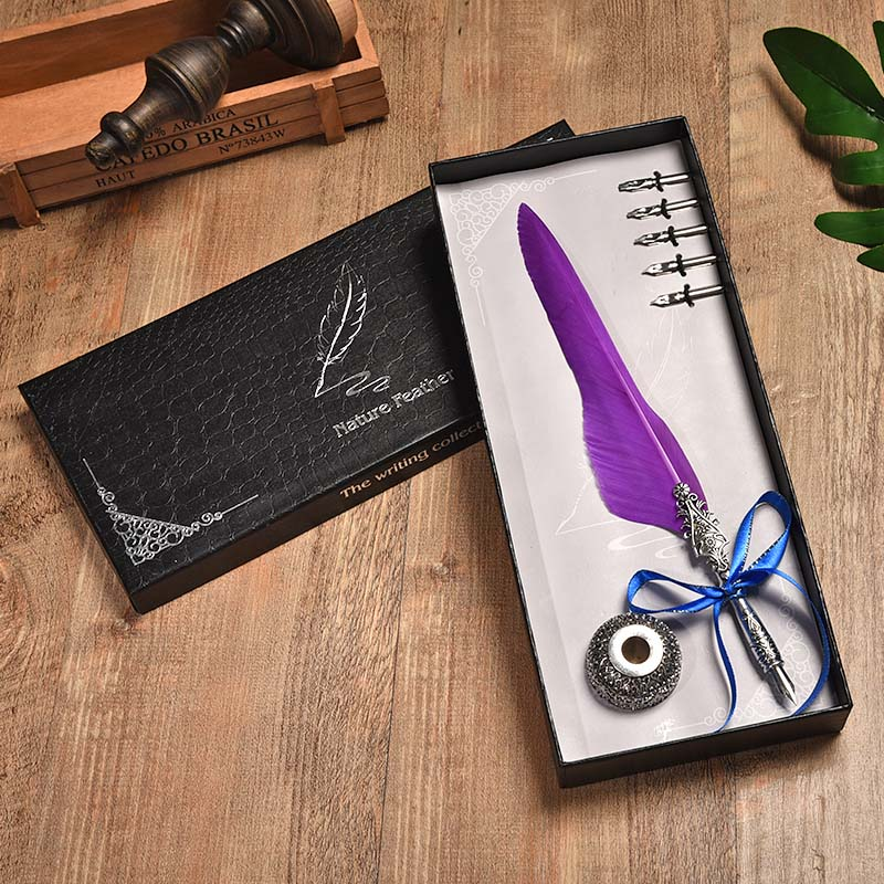 BNB Europe And The United States Creative Craft Feather Pen + Ink Set Feather Pen Gift Box New Metal Pen Can Be Customized the new european style ceramic creative direct canister storage tanks sealed cans can be customized logo can be added on behalf