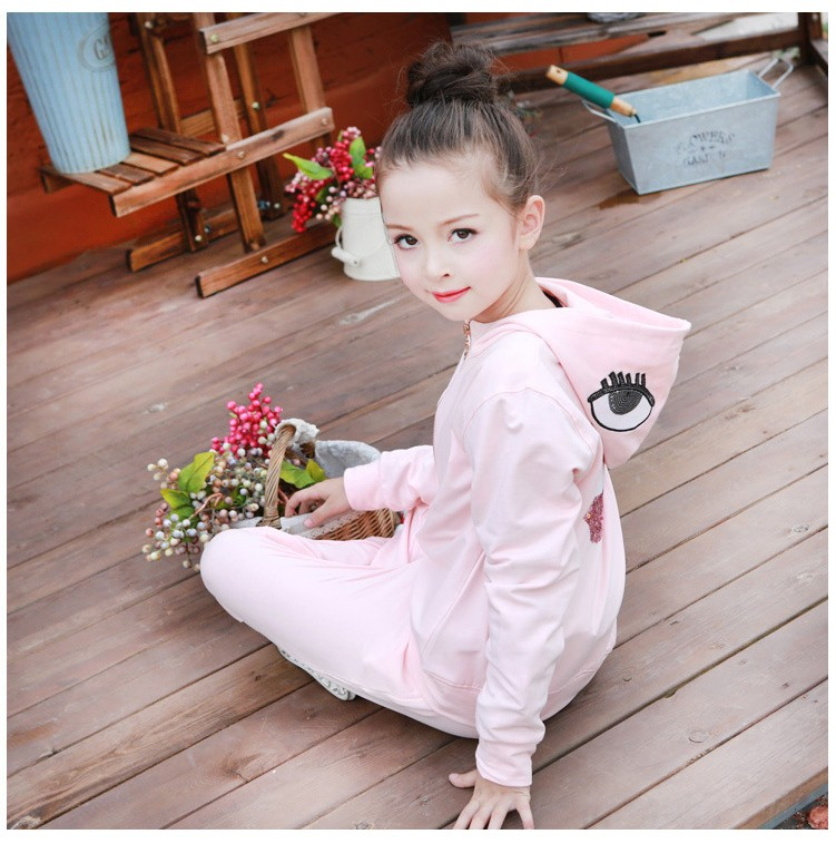 2016 character tracksuits childrens clothing for girls kids hooded hoodies coats pants girl clothes suits gray pink sports sets  5 6 7 8 9 10 11 12 13 14 15 16 years old little big teenage girls clothing set (4)