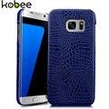 Caixa do telefone de couro de luxo para samsung galaxy s7 edge kobee 3d crocodilo tampa traseira dura para samsung galaxy s 7 s7 edge caso