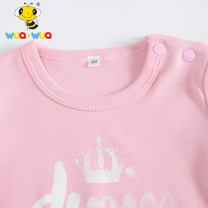 7eccfb65ce99 Wua Wua Summer Baby Bodysuits Pink Newborn Cotton One Piece Baby ...