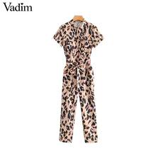 leopard print short sleeve bow tie jumpsuits