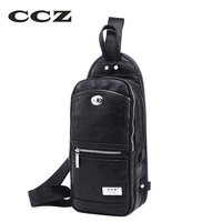 CCZ 2017 New Shoulder Bag Mens Crossbody Bag PU Leather Chest Pack Men Bags Fashion Casual