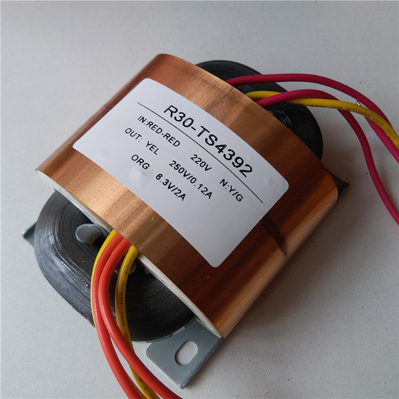 250V 0.12A 6.3V 2A R Core Transformer R30 custom transformer 220V/230V 30-45VA with copper shield Pre-decoder Power amplifier 7 5v 4a r core transformer 30va r30 custom transformer 230v copper shield for pre decoder power amplifier