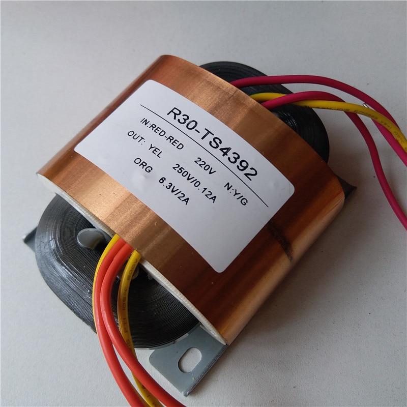 250V 0.12A 6.3V 2A R Core Transformer R30 custom transformer 220V 45VA with copper shield Pre-decoder Power amplifier250V 0.12A 6.3V 2A R Core Transformer R30 custom transformer 220V 45VA with copper shield Pre-decoder Power amplifier
