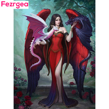 Fezrgea Diamond Painting Fairy Embroidery Full Round Display Girls Mosaic Pictures Of Rhinestones Needlework