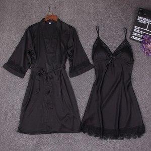 Image 3 - 가을 여성 잠옷 세트 2 조각 nightdress 목욕 가운 가슴 패드 여성 새틴 기모노 목욕 가운 잠옷 핑크 가운 정장