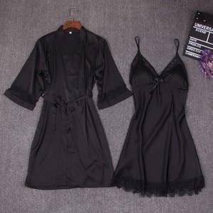 Image 3 - Autumn Women Nightgown Sets 2 Pieces Nightdress Bathrobe With Chest Pad Female Satin Kimono Bath Gown Sleepwear Pink Robes Suit